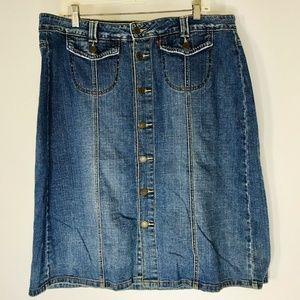 Levis Denim Blue Jean Skirt Pockets Modest NO Slit